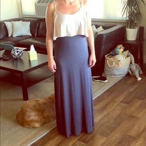 Navy/Cream Layered Maxi Dress